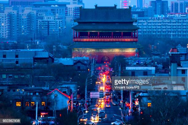The Drum Tower at dusk from Coal Hill in Jingshan Park on February 17 2018 in Beijing China The Chinese capital marked by a history of more than 3...