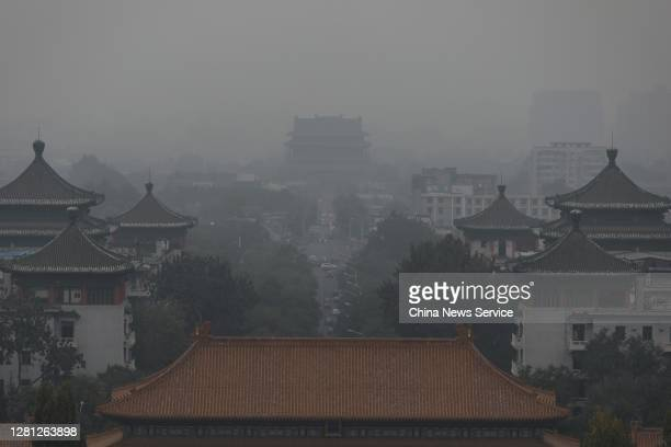 The Drum Tower is shrouded in smog on October 20, 2020 in Beijing, China.