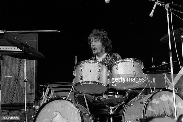 The drummer Ginger Baker of the group CREAM on the scene of the Sports stadium for the Festival of pop music of 1967