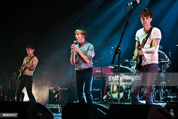 The Drums perform on stage during the Shockwaves NME Awards Tour at Brixton Academy on February 20, 2010 in London, England.