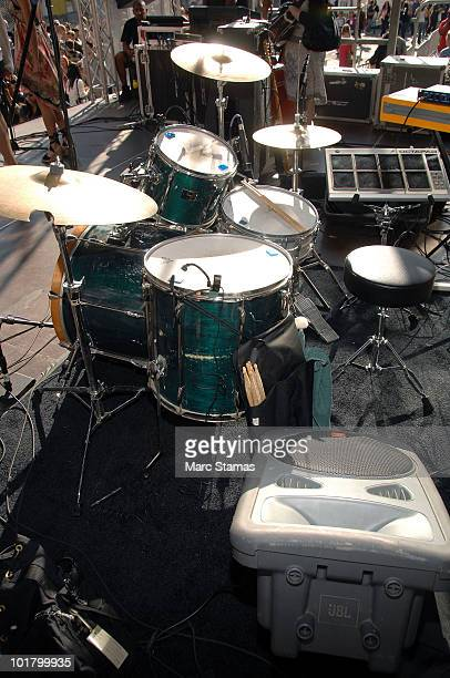 The drumset from the Broadway show 'Rock of Ages' is shown onstage during the kick off of The Taste Of Times Square at the Hard Rock Cafe Times...