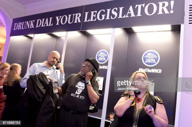 The Drunk Dial Your Legislator booths at Full Frontal With Samantha Bee's Not The White House Correspondents' Dinner After Party at the W Hotel POV...