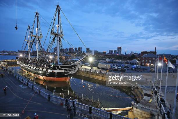 The dry dock in the Charlestown Navy Yard in Boston is flooded as workers prepare to return the USS Constitution to the waters of Boston Harbor on...