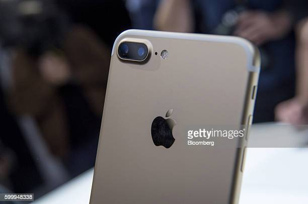 The dual cameras are seen on a Apple Inc iPhone 7 Plus during an event in San Francisco California US on Wednesday Sept 7 2016 Apple Inc unveiled new...