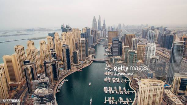 The Dubai Marina and Jumeirah Beach Residences are seen from above on February 8 2017 in Dubai United Arab Emirates Photo by Jumana Jolie for Getty...