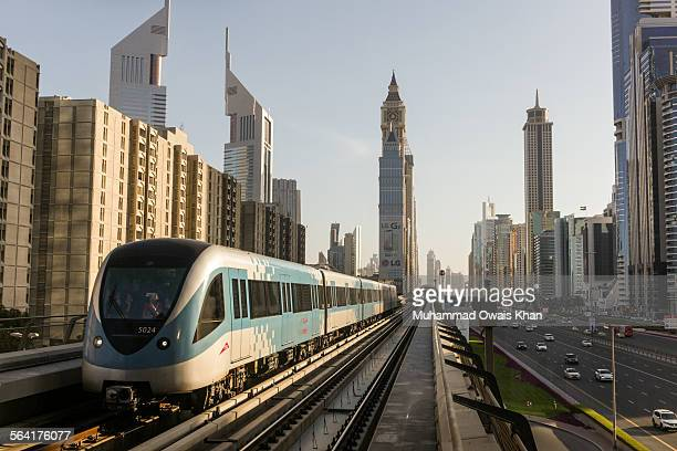 the dubai metro - driverless transport stock pictures, royalty-free photos & images