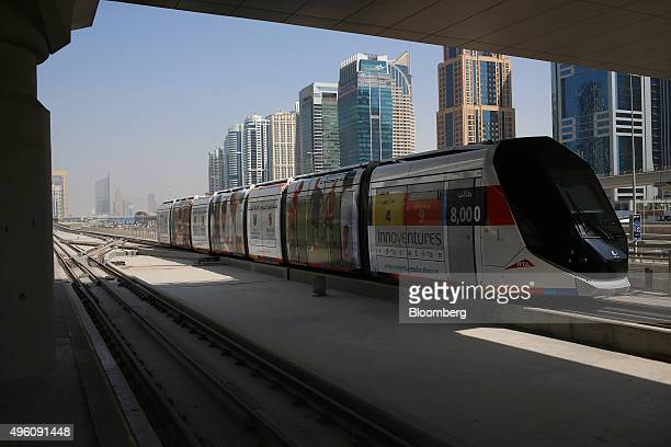 The Dubai Tram pulls into a station in Dubai United Arab Emirates on Saturday Nov 7 2015 Home prices in the emirate dropped 12 percent in the 12...