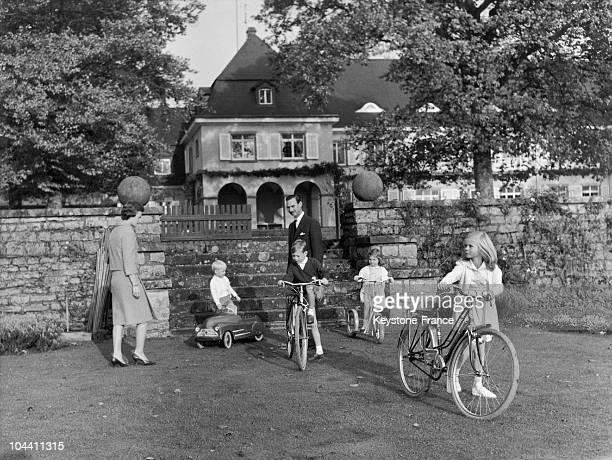 The ducal family of Belgium leaving their castle of Betzdorf for a stroll in 1960 From left to right Princess JOSEPHINECHARLOTTE Prince JEAN Grand...