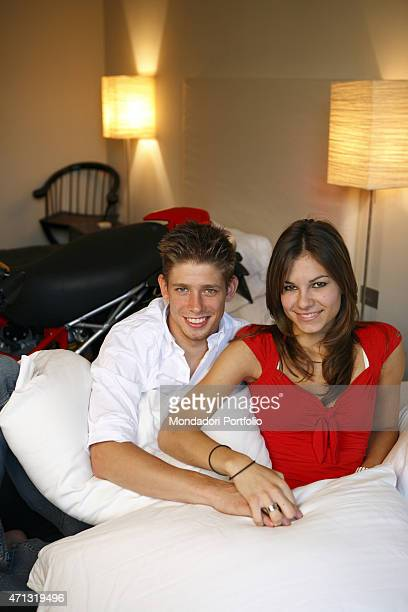 The Ducati racing driver Casey Stoner and his wife Adriana posing for a photo shooting at the Hotel Carducci 76 in Cattolica Cattolica Italy 4th...