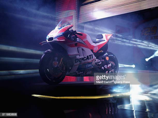 The Ducati Team MotoGP 2016 unveils the Ducati motorcycle model Desmo16Gp at the Ducati Factory for the on February 23 2016 in Bologna Italy