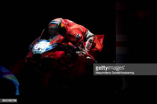 The Ducati Team MotoGP 2018 unveils the Ducati motorcycle model Desmosedici Gp18 at the Ducati Factory on January 15, 2018 in Bologna, Italy. The...