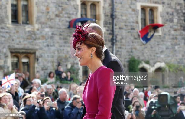 The Duchess and Duke of Cambridge after the wedding of Princess Eugenie to Jack Brooksbank at St George's Chapel in Windsor Castle on October 12 2018...