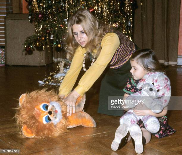 The Duchess Cayetana de Alba with her daughter Eugenia XI Duchess of Montoro with Christmas gifts 22nd December 1973 Madrid Spain