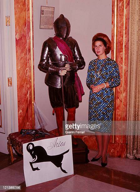 The Duchess Cayetana of Alba at the 'Palacio de Liria' with some objects related to his horoscope Madrid Spain