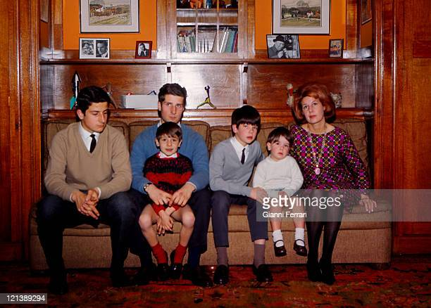 The Duchess Cayetana of Alba with her childrens Alfonso Carlos Jacobo and Cayetano at the 'Palacio de Liria' 25th February 1966 Madrid Spain