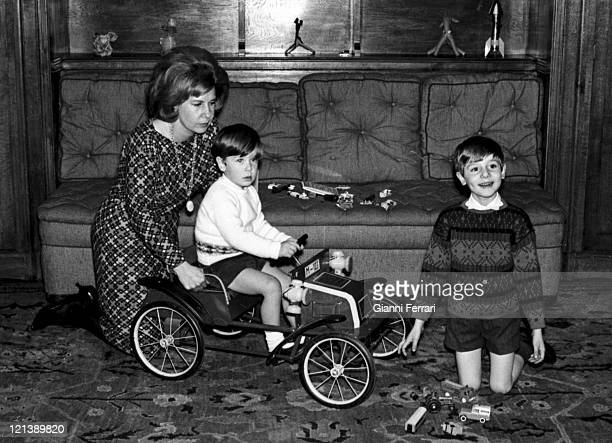 The Duchess Cayetana of Alba with her childrens Cayetano and Fernando at the 'Palacio de Liria' 25th February 1966 Madrid Spain Photo by Gianni...