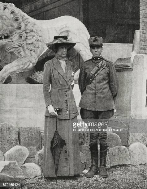 The Duchess Elena d'Aosta and Prince Amedeo Italian artillery captain visiting the Roman Museum of Aquileia Italy World War I photo by M Abramich...