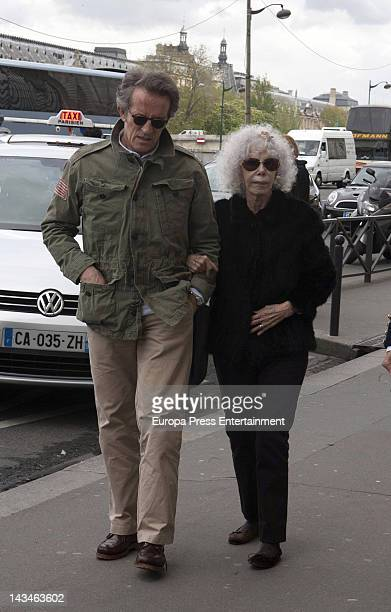 The Duchess of Alba Cayetana FitzJames Stuart and Alfonso Diez are seen arriving at the D'Orsay Museum during their holiday on April 26 2012 in Paris...