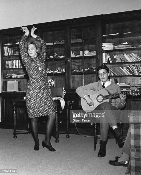 The Duchess of Alba dancing flamenco with her son Alfonso playing guitar Liria Palace 1966