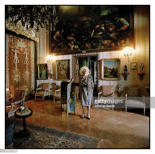 The Duchess of Alba, Dona Cayetana Fitz-James Stuart is photographed in the blue square room of the Palacio de Duenas for Vogue Espana on March...