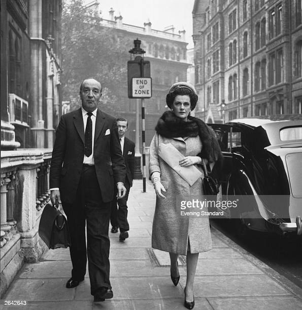 The Duchess of Argyll arrives at court with her solicitor for the start of her divorce proceedings October 1962