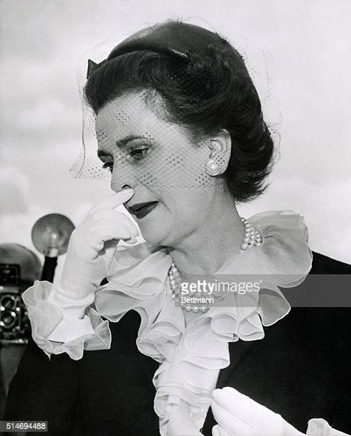 The Duchess of Argyll returns to London from France after her husband divorced her for adultery