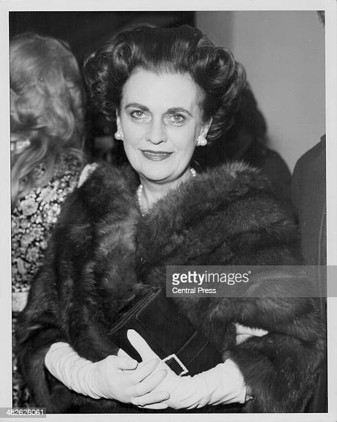 The Duchess of Argyll wearing a fur coat at an event November 6th 1975