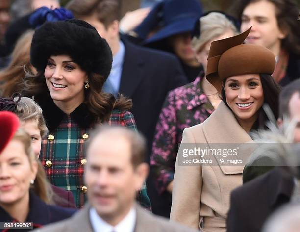 The Duchess of Cambridge and Meghan Markle arriving to attend the Christmas Day morning church service at St Mary Magdalene Church in Sandringham...