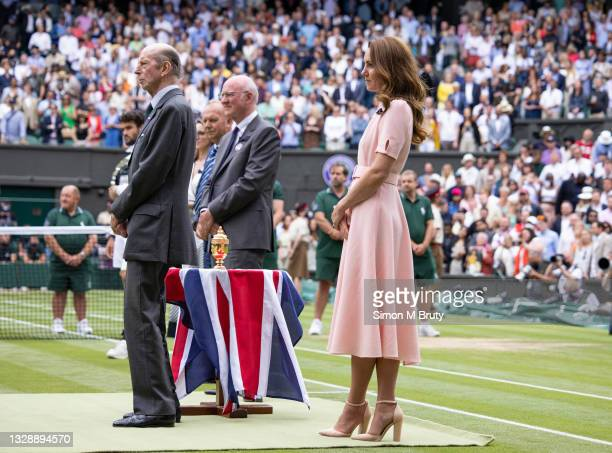 The Duchess of Cambridge and Prince Edward, Duke of Kent at the Men's trophy ceremony after the Men's Singles Final at The Wimbledon Lawn Tennis...