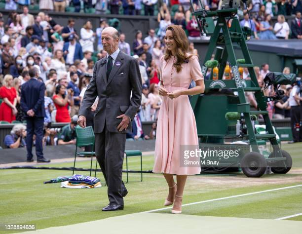 The Duchess of Cambridge and Prince Edward, Duke of Kent at the Men's trophy ceremony after the Singles Final at The Wimbledon Lawn Tennis...