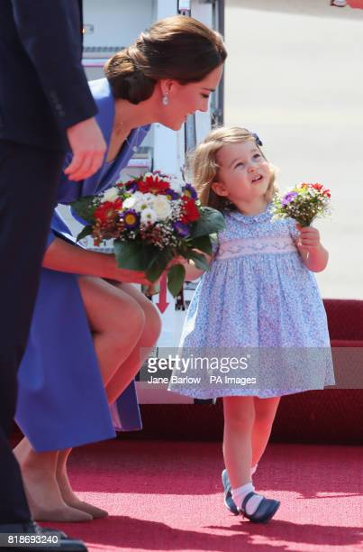The Duchess of Cambridge and Princess Charlotte arrive at Berlin Airport in Germany