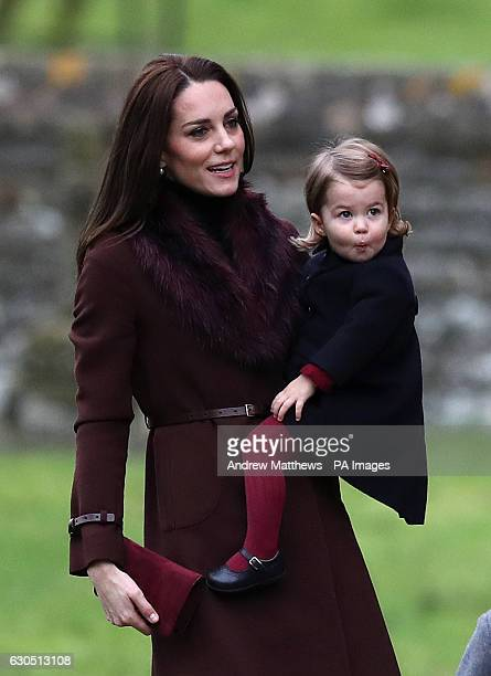 The Duchess of Cambridge and Princess Charlotte arrive to attend the morning Christmas Day service at St Mark's Church in Englefield Berkshire