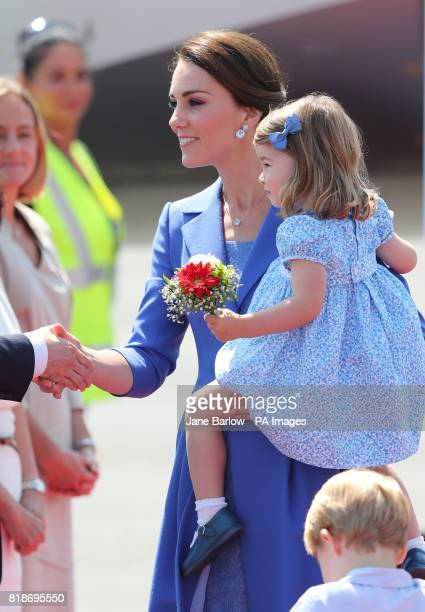 The Duchess of Cambridge and Princess Charlotte arriving at Berlin Airport in Germany