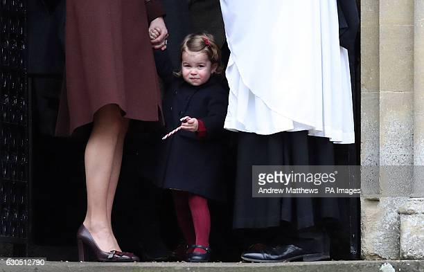 The Duchess of Cambridge and Princess Charlotte leave following the morning Christmas Day service at St Mark's Church in Englefield Berkshire