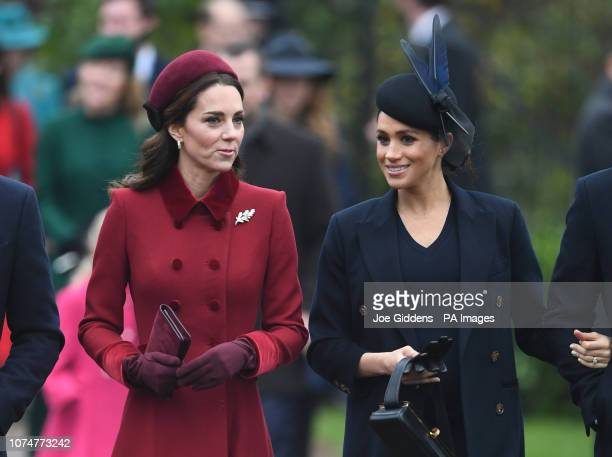 The Duchess of Cambridge and the Duchess of Sussex arriving to attend the Christmas Day morning church service at St Mary Magdalene Church in...