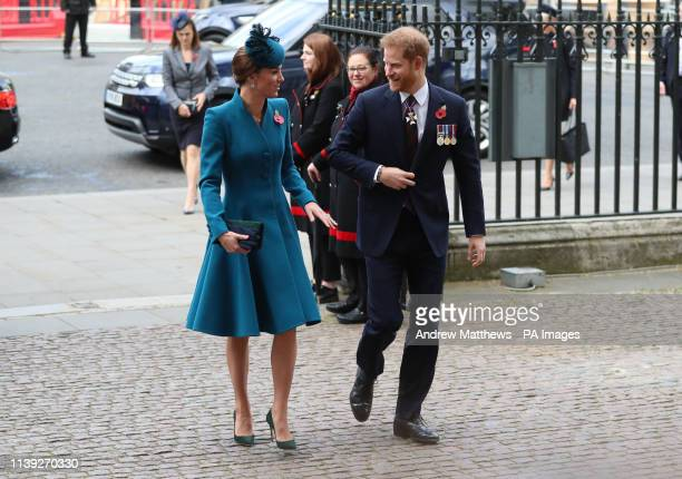 The Duchess of Cambridge and the Duke of Sussex attend the Anzac Day Service of Commemoration and Thanksgiving at Westminster Abbey London