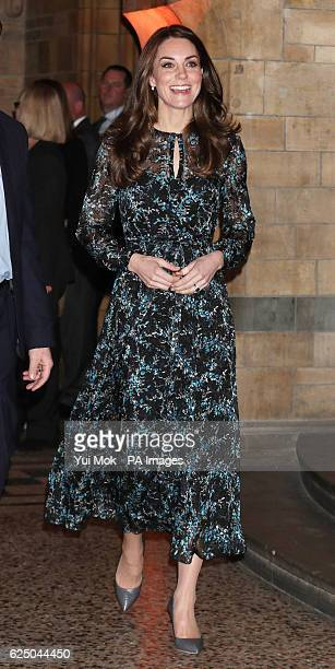 The Duchess of Cambridge arrives at the Natural History Museum London to attend a children's tea party to celebrate Dippy the Diplodocus's time in...