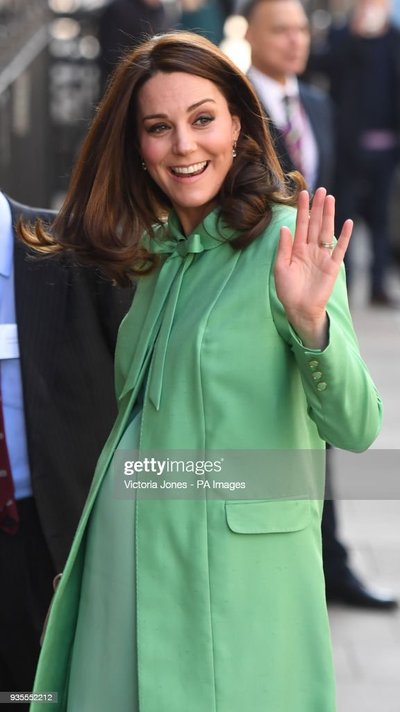 The Duchess of Cambridge arrives for a symposium of leading academics and charities championing early intervention into the lives of children at the Royal Society of Medicine in London.