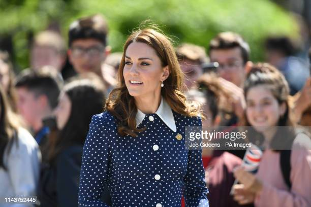 The Duchess of Cambridge arrives for a visit to Bletchley Park to view a special DDay exhibition in the newly restored Teleprinter Building
