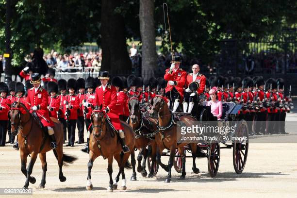 The Duchess of Cambridge arrives for the Trooping the Colour ceremony at Horse Guards Parade, central London, as the Queen celebrates her official...