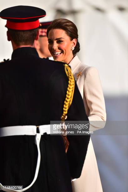 The Duchess of Cambridge arrives to watch members of the Massed Bands of the Household Division during the annual Beating Retreat ceremony, which...