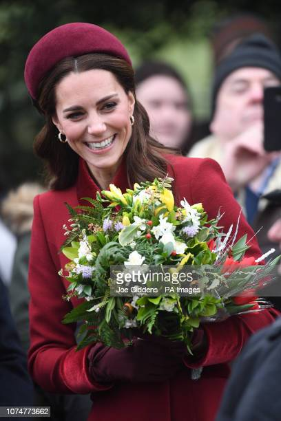 The Duchess of Cambridge arriving to attend the Christmas Day morning church service at St Mary Magdalene Church in Sandringham Norfolk