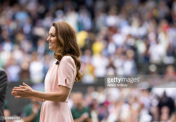 The Duchess of Cambridge at the Men's trophy ceremony after the Singles Final at The Wimbledon Lawn Tennis Championship at the All England Lawn and...