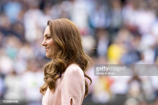 The Duchess of Cambridge at the Men's trophy ceremony after the Men's Singles Final at The Wimbledon Lawn Tennis Championship at the All England Lawn...