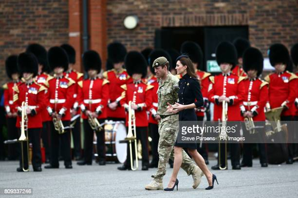 The Duchess of Cambridge at the Victoria Barracks Windsor where she presented operational medals for service in Afghanistan to members of the 1st...