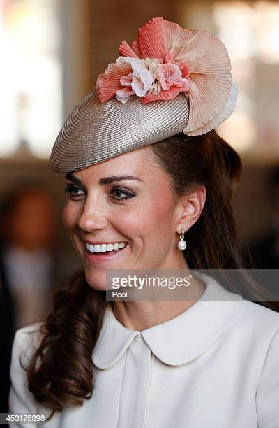 The Duchess of Cambridge attends a reception in Mons during a day of World War 1 commemorations at Grand Place on August 4 2014 in Mons Belgium...