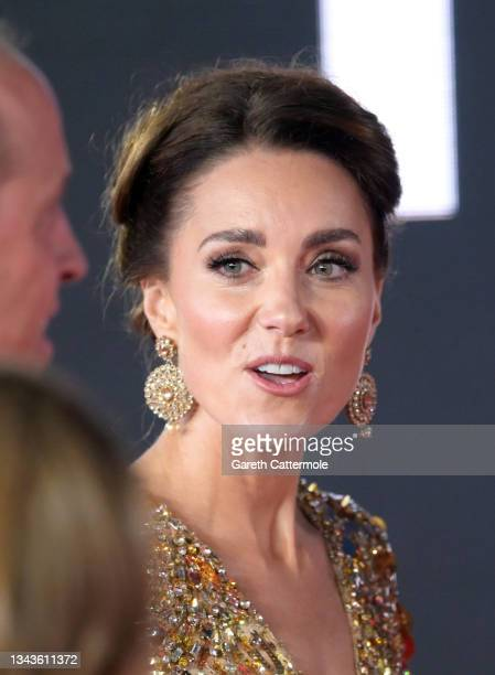"""The Duchess of Cambridge attends the """"No Time To Die"""" World Premiere at Royal Albert Hall on September 28, 2021 in London, England."""