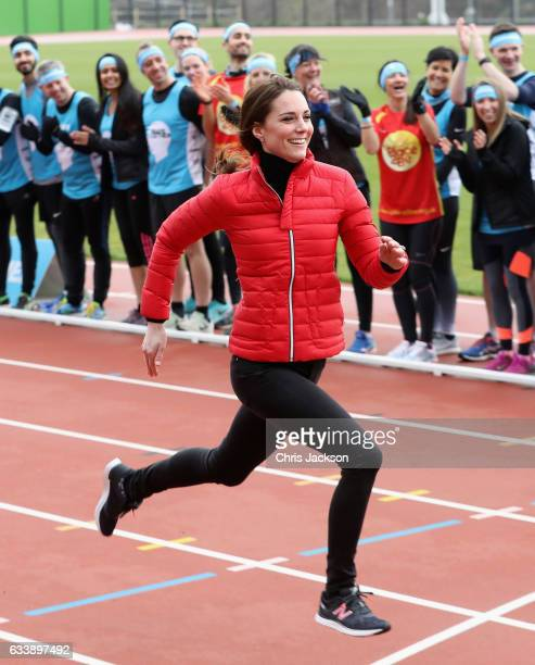 The Duchess of Cambridge competes against The Duke of Cambridge and Prince Harry during the Team Heads Together at a London Marathon Training Day at...