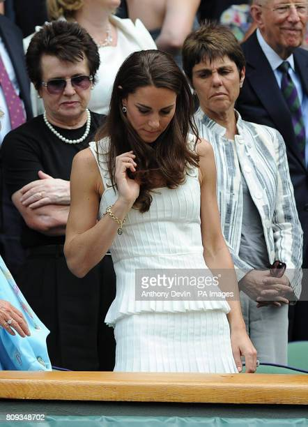 The Duchess of Cambridge in the Royal Box with Billie Jean King and Ilana Kloss on Centre Court during day seven of the 2011 Wimbledon Championships...