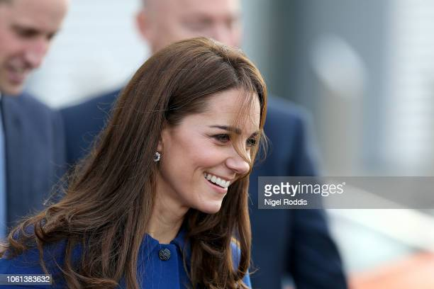 The Duchess Of Cambridge leaves after a visit at McLaren Automotive Composites Technology Centre on November 14 2018 in Rotherham England